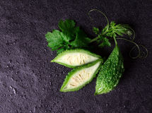 Balsam Pear on wet black stone plate background Royalty Free Stock Image