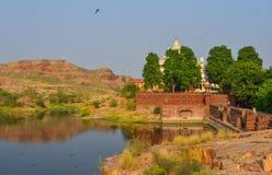Balsamand湖在乔德普尔城,印度 库存照片