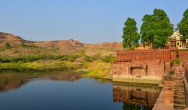 Balsamand jezioro w Jodhpur, India zdjęcia royalty free