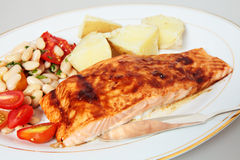 Balsamic glazed salmon fillet Stock Image