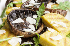 Balsamic Portobellos and Grilled Polenta Royalty Free Stock Photography