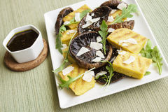 Balsamic Portobellos and Grilled Polenta Stock Photo