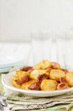 Balsamic Roast Potato with Unpeeled Garlic, Eschalot and Rosemar Stock Photos