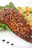 Balsamic salmon. With sesame seed royalty free stock image