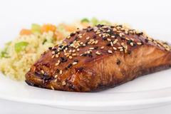 Balsamic salmon. With sesame seed Stock Image