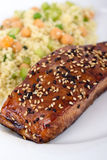 Balsamic salmon. With sesame seed royalty free stock photography