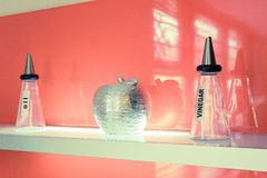 Balsamic vinegar and oil modern bottles Stock Images