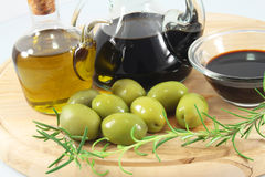 Balsamic vinegar, olives, olive oil Stock Photo