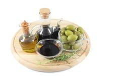 Balsamic vinegar, olives, olive oil Royalty Free Stock Image