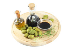 Balsamic vinegar, olives, olive oil Stock Image