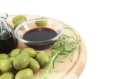 Balsamic vinegar, olives Royalty Free Stock Images