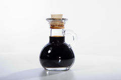 Balsamico. Vinegar in glass jar with cork royalty free stock photo