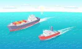 Balsas do transporte da água com vetor do grupo da carga ilustração royalty free