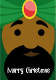 BALTHAZAR. Christmas greeting with Balthazar King's face close-up vector illustration