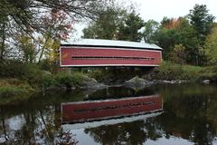 Covered Bridge. Balthazar Covered Bridge in Brigham over Yamaska River in Quebec Royalty Free Stock Photography