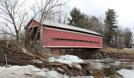 Balthazar Covered Bridge. Over Yamaska River bult in 1932 in Brigham, Qc Royalty Free Stock Images