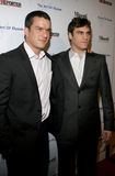 Balthazar Getty and Joaquin Phoenix. WEST HOLLYWOOD, CALIFORNIA. November 30, 2005. Balthazar Getty and Joaquin Phoenix attend the Art of Elysium Presents Russel Royalty Free Stock Photos