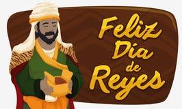 Balthazar Magi avec Myrrh Celebrating Epiphany ou DÃa de Reyes, illustration de vecteur illustration stock
