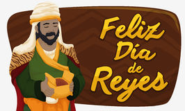 Balthazar Magi with Myrrh Celebrating Epiphany or Día de Reyes, Vector Illustration Stock Images