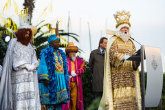 Balthazar reading welcoming address. BARCELONA, SPAIN – JANUARY 5, 2017:  Balthazar of Three Kings reading word of salutation at meeting ceremony. Barcelona Royalty Free Stock Photos
