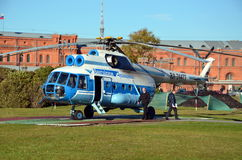 Baltic Airlines  helicopter on the helipad Stock Image
