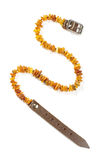 Baltic amber dog and cat necklace isolated on the white background Stock Photography