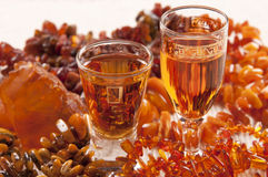 Baltic amber liqueur Stock Photography