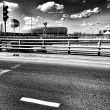 Baltic Arena Stadium. Artistic look in black and white. Royalty Free Stock Image