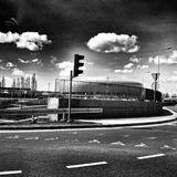 Baltic Arena Stadium. Artistic look in black and white. Stock Image