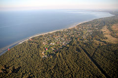 Baltic Bay. Jurmala (LATVIA), picture from light aircraft during the flight along the coastline Stock Images