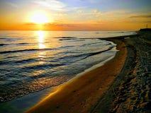 Baltic beach in Palanga. Baltic sea golden beach at palanga in the evening stock photos