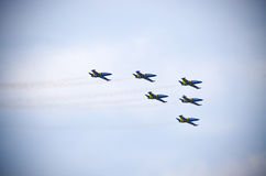 Baltic Bees formation on Radom Airshow, Poland. Baltic Bees formation during the show. Radom, Poland - August 23, 2015: . Airshow event on 23 August 2015, Radom Stock Photography