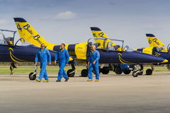 Baltic Bees Jet Team crew with L-39 planes on runway Stock Photo