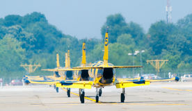 Baltic Bees Jetplanes On Runway. Bucharest International Airshow 2013 (BIAS) held on the Bucharest Băneasa-Aurel Vlaicu International Airport, on the 27st of Stock Image