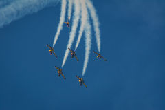 Baltic Bees Team jets on air. Bucharest Internaţional Airshow 2015, Baltic Bees with L-39C Albatross aircrafts Royalty Free Stock Images