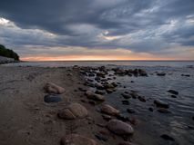 Baltic climates. Stony coast of the Baltic Sea in Rozewie Stock Images