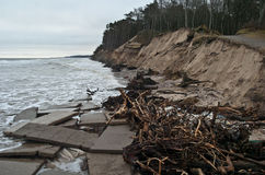 Baltic coast after storm. Baltic coast with eroded beach and landslide after storm Stock Photography