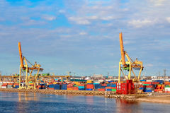 Baltic container terminal. With port cranes. Riga cargo terminal stock image