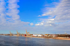 Baltic container terminal. With port cranes. Riga cargo terminal royalty free stock photo