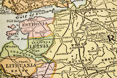 Baltic countiries on vintage map Royalty Free Stock Photography