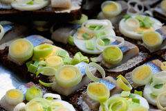 Baltic herring on slices of dark bread Stock Image