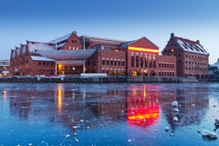 Baltic Philharmonic in Gdansk. With frozen Motlawa river, Poland Royalty Free Stock Photo