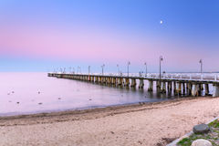 Baltic pier in Gdynia Orlowo at sunset Royalty Free Stock Images
