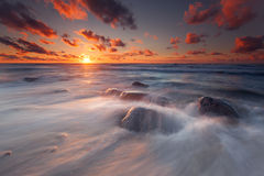 Baltic's Sunset. Baltic sea, Russia. July, 2013 Royalty Free Stock Photography