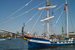 Baltic sail 2010. GDANSK, POLAND - 11 JULY: Baltic Sail Gdansk 2010. Parade boats and motor boats for Motlawa river and port Gdansk. On 11 July. 2010. Gdansk Stock Image
