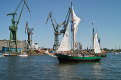 Baltic sail 2010. GDANSK, POLAND - 11 JULY: Baltic Sail Gdansk 2010. Parade boats and motor boats for Motlawa river and port Gdansk. On 11 July. 2010. Gdansk Stock Photo