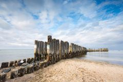 Baltic sandy coast with old military buildings from world war II Royalty Free Stock Photo