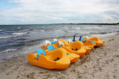 Baltic sea. Pedal boats in timmendorfer strand, baltic sea royalty free stock photo