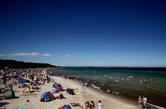 Baltic Sea. Higher temperatures and more sunshine is helping Germany's beach resorts (the picture shows the Baltic Sea Beach at Timmendorfer Strand near Luebeck Royalty Free Stock Image