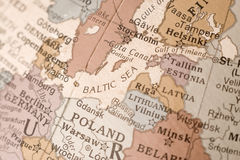 Baltic Sea. Close up of the Baltic sea on a printed globe Royalty Free Stock Photos